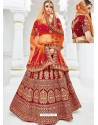 Maroon Velvet Heavy Embroidered Hand Worked Designer Wedding Lehenga Choli