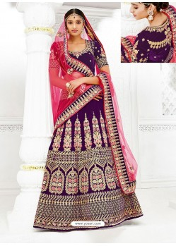 Purple Velvet Heavy Embroidered Hand Worked Designer Wedding Lehenga Choli