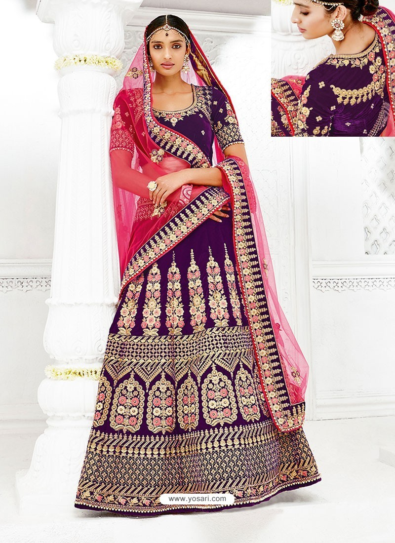 Purple Velvet Heavy Embroidered Hand Worked Designer Wedding Lehenga Choli