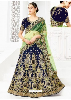 Peacock Blue Velvet Heavy Embroidered Hand Worked Designer Wedding Lehenga Choli