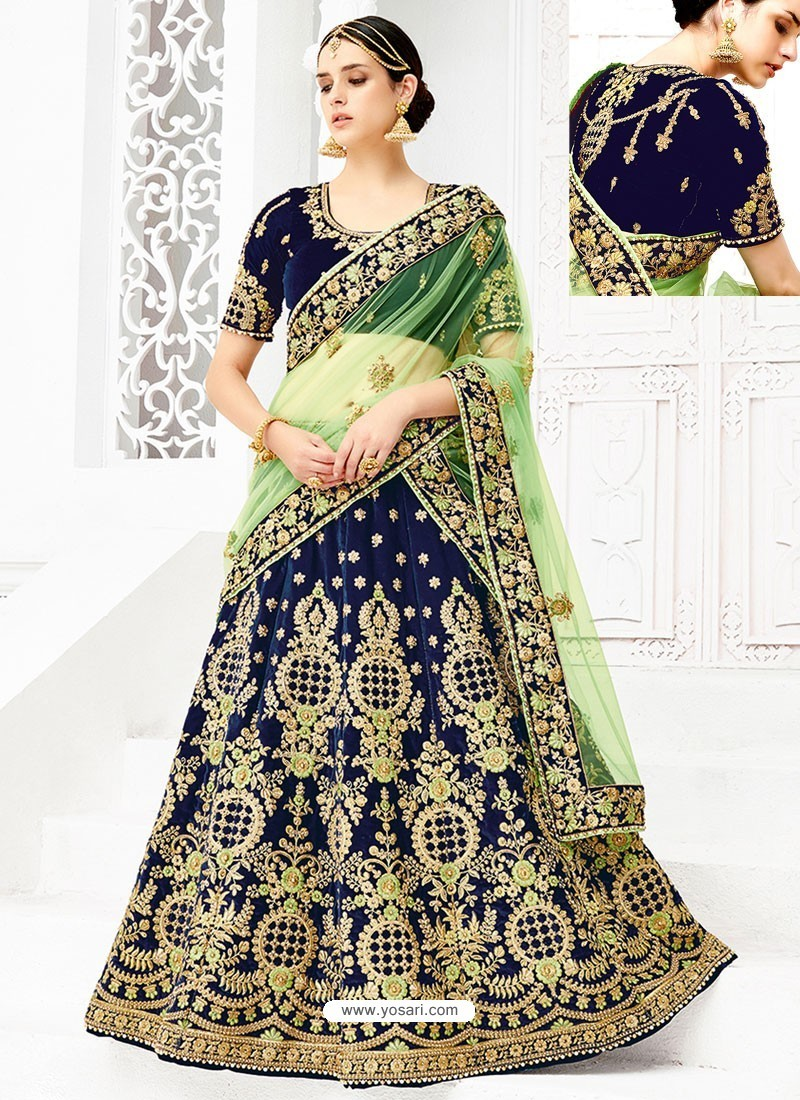 Peacock Blue Velvet Heavy Embroidered Hand Worked Designer Wedding Lehenga Choli