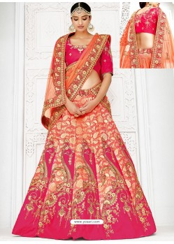 Stylish Orange Banarasi Heavy Embroidered Hand Worked Designer Wedding Lehenga Choli