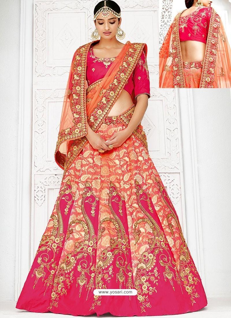Stylish Orange Banarasi Heavy Embroidered Hand Worked Designer Wedding Lehenga Choli