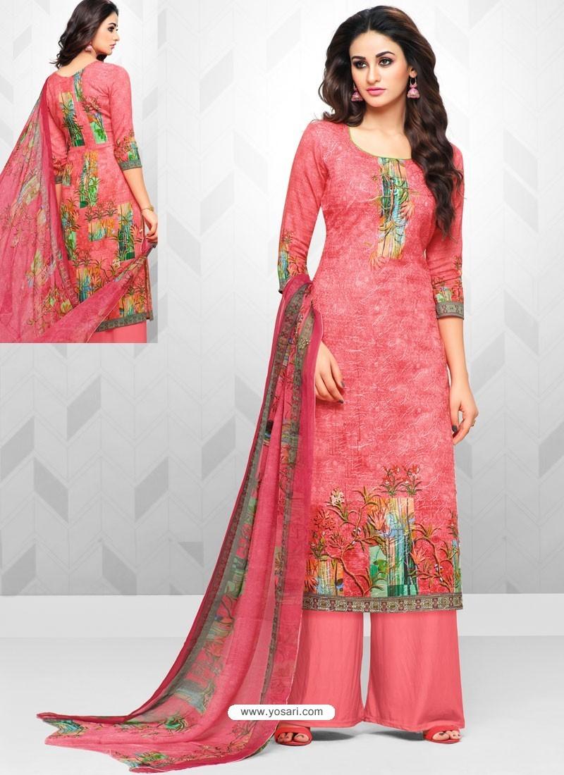 Light Red Glaze Cotton Digital Printed Palazzo Suit