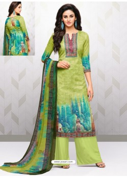 Green Glaze Cotton Digital Printed Palazzo Suit