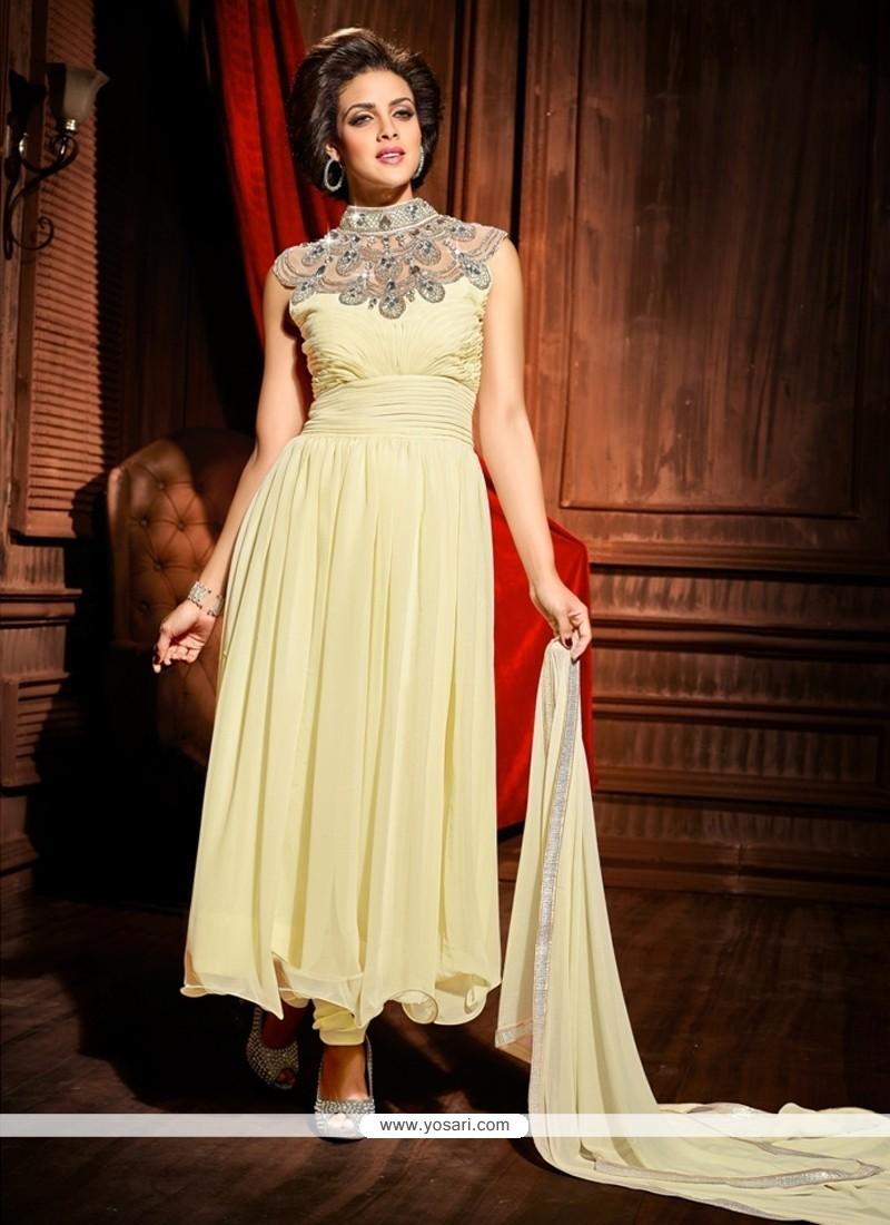 Jaaz Off White Georgette Designer Anarkali Suit