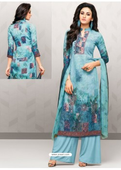Sky Blue Glaze Cotton Digital Printed Palazzo Suit