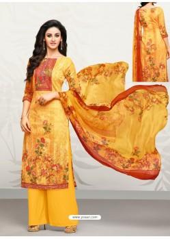 Yellow Glaze Cotton Digital Printed Palazzo Suit