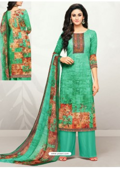 Jade Green Glaze Cotton Digital Printed Palazzo Suit