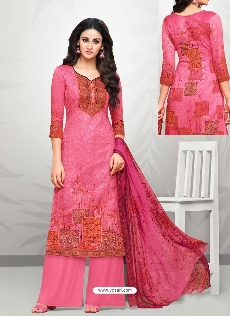 Hot Pink Glaze Cotton Digital Printed Palazzo Suit