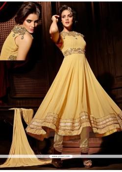 Exquisite Beige Georgette Anarkali Salwar Suit