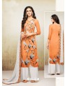 Orange Maslin Digital Printed Palazzo Suit