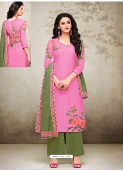 Hot Pink Maslin Digital Printed Palazzo Suit