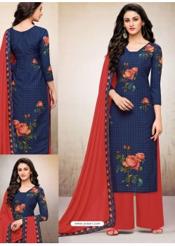 Navy Blue Maslin Digital Printed Palazzo Suit