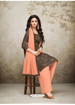 Coffee Brown And Orange Maslin Digital Printed Palazzo Suit