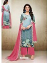 Light Pink And Sky Blue Maslin Digital Printed Palazzo Suit