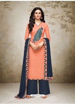 Latest Orange Maslin Digital Printed Palazzo Suit