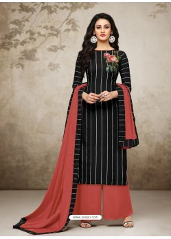 Black Maslin Digital Printed Palazzo Suit