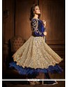 Blue And Cream Net And Velvet Anarkali Suit