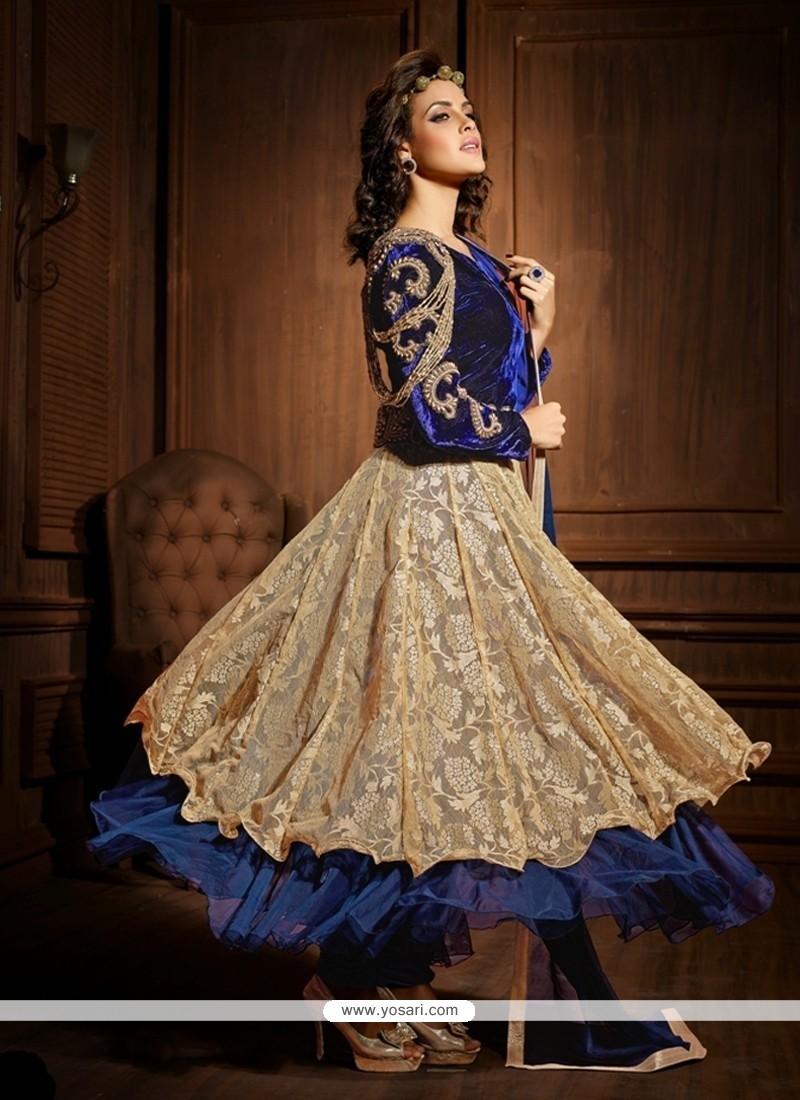 Blue And Cream Net And Velvet Anarkali Suit