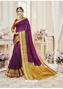 Purple Cotton Silk Designer Woven Saree