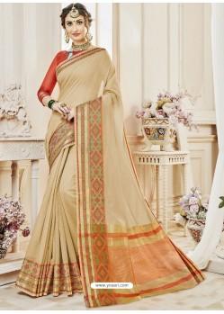 Light Beige Cotton Silk Designer Woven Saree