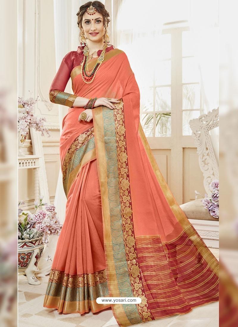 Light Orange Cotton Silk Designer Woven Saree
