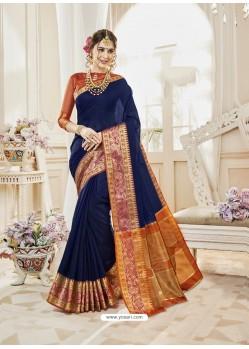 Navy Blue Cotton Silk Designer Woven Saree
