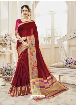 Maroon Cotton Silk Designer Woven Saree