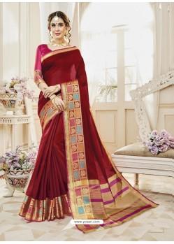 Maroon Cotton Silk Designer Woven Saree