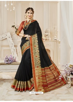 Black Cotton Silk Designer Woven Saree