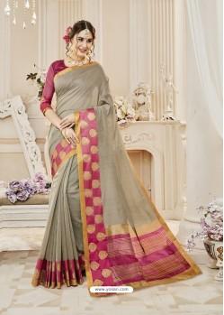 Taupe Cotton Silk Designer Woven Saree
