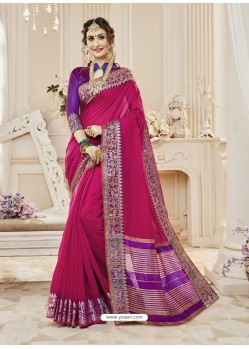 Medium Violet Cotton Silk Designer Woven Saree