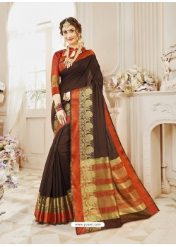 Coffee Brown Cotton Silk Designer Woven Saree