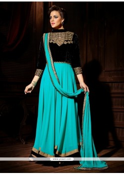 Flashy Blue Georgette And Velvet Anarkali Suit