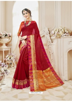 Red Cotton Silk Designer Woven Saree