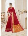 Red Cotton Silk Designer Woven Saree