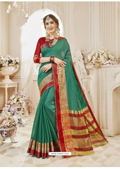 Dark Green Cotton Silk Designer Woven Saree