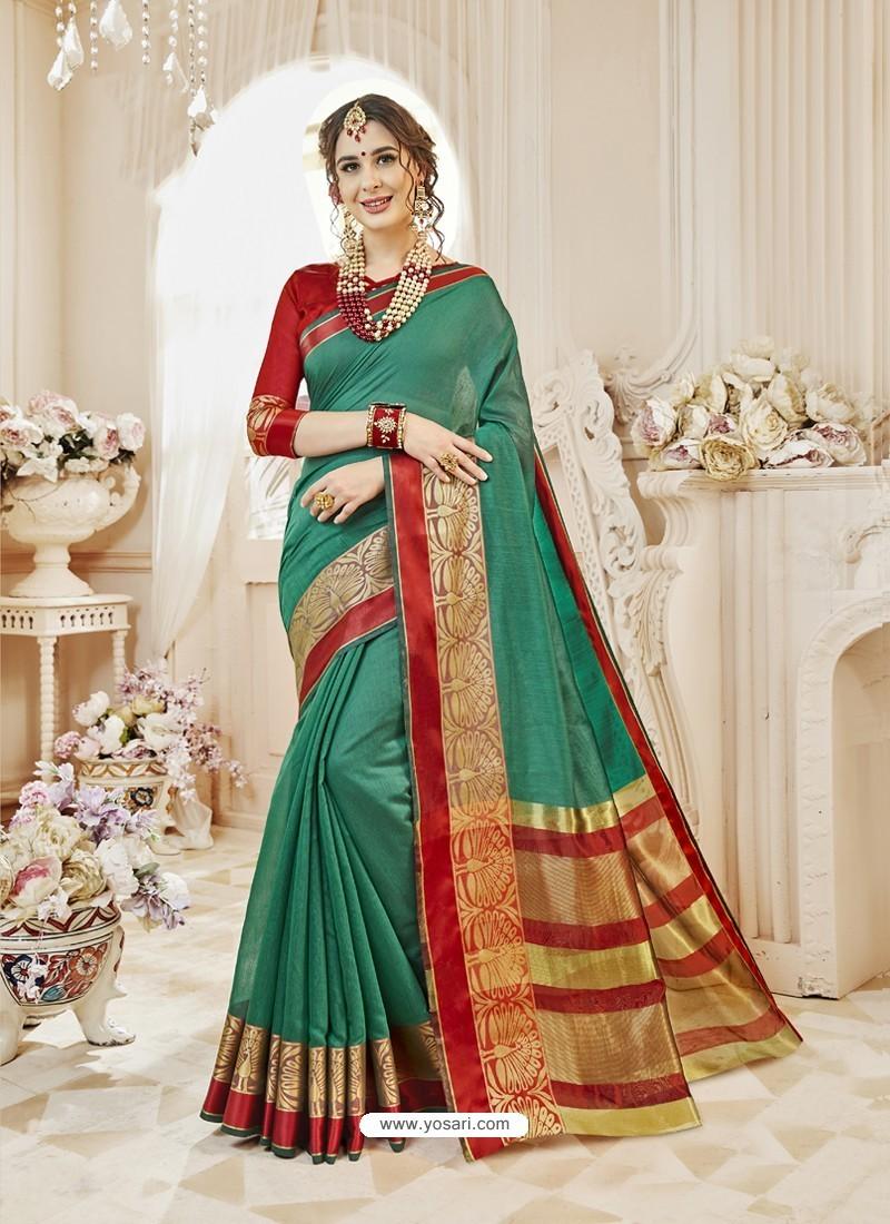 Dark Green Cotton Silk Designer Woven Saree