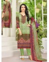Green Pure Satin Embroidered Straight Suit