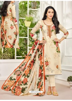 Cream Pure Satin Embroidered Straight Suit