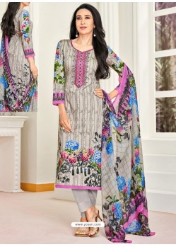 Grey Pure Satin Embroidered Straight Suit
