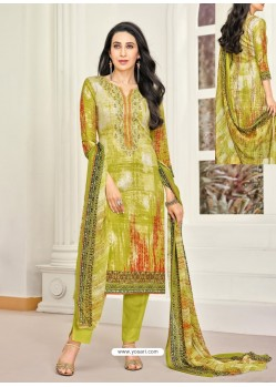 Parrot Green Pure Satin Embroidered Straight Suit