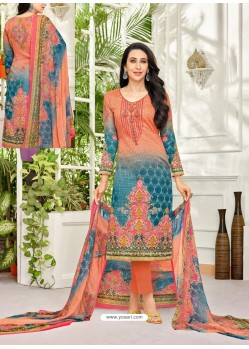 Light Red Pure Satin Embroidered Straight Suit