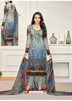 Stylish Grey Pure Satin Embroidered Straight Suit