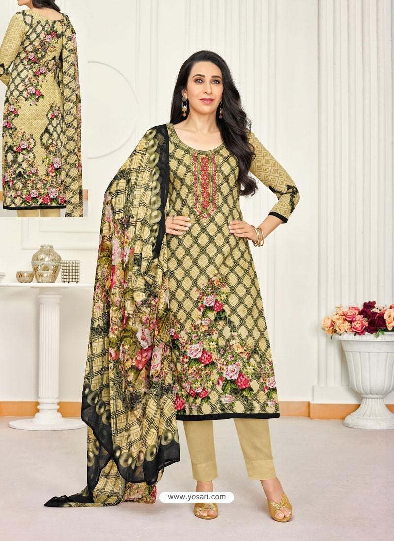 Khaki Pure Satin Embroidered Straight Suit