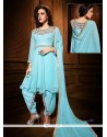 Turquoise Blue Georgette Punjabi Salwar Suit
