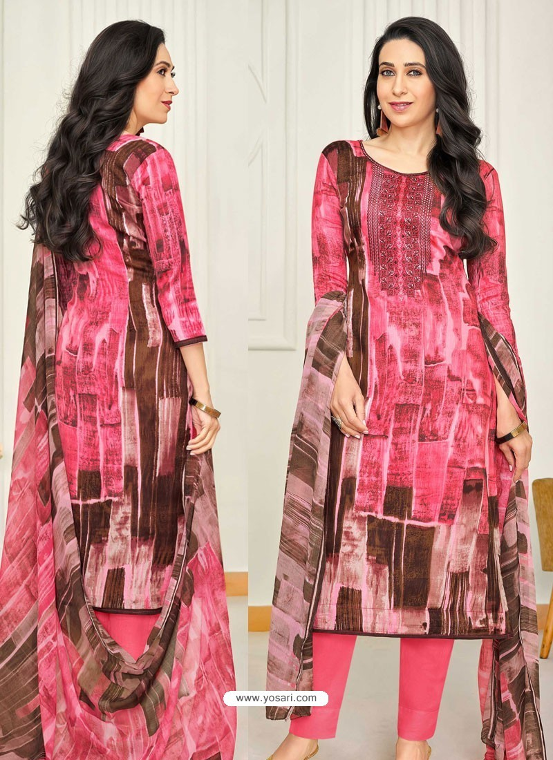 Hot Pink Pure Satin Embroidered Straight Suit