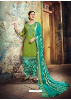 Green Embroidered Chanderi Silk Designer Patiala Salwar Suit