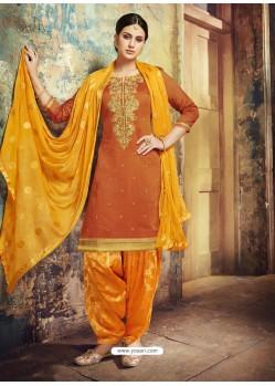 Orange Embroidered Chanderi Silk Designer Patiala Salwar Suit